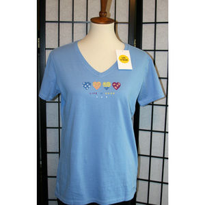 NWT- Life Is Good Crusher V Neck Blue w/ Hearts, M